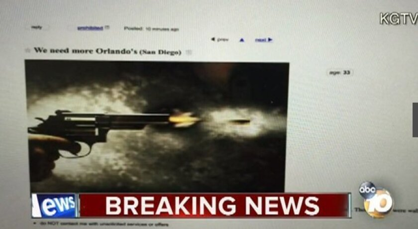 """An ad posted on Craigslist  that referred to the Orlando massacre and said """"San Diego you are next"""" is seen in this screen shot from 10 News."""