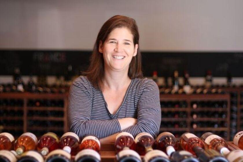 Jill Bernheimer in her wine shop, Domaine LA.