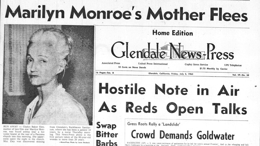 Louie Deisbeck's photo of Rockhaven Sanitarium resident Gladys Baker Eley was featured on the front page of the July 5, 1963 Glendale News-Press after she escaped from the sanitarium.