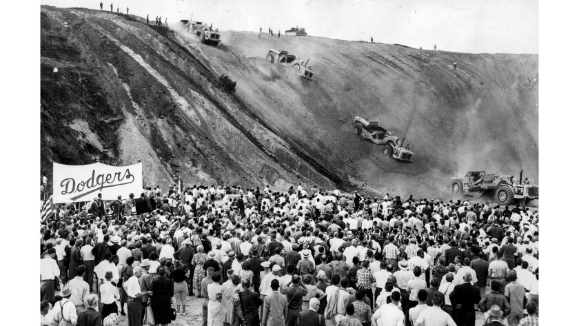 Sept. 17, 1959: About 3,000 fans attend the groundbreaking ceremony for Dodger Stadium.