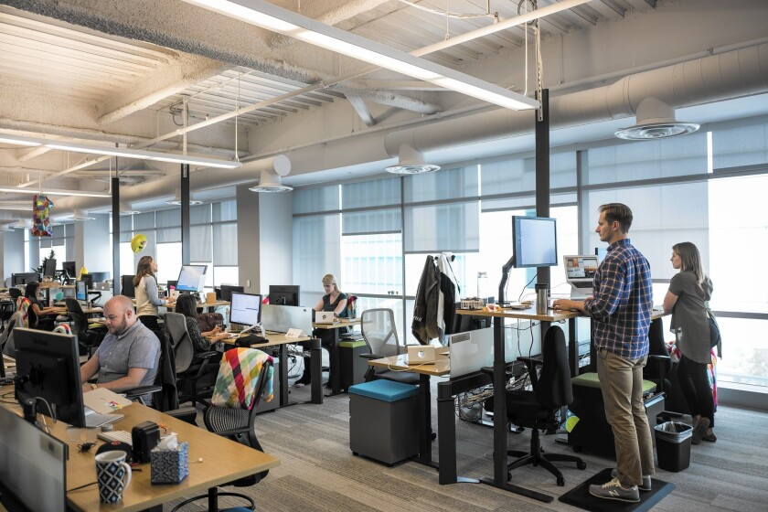 Employees work in the San Francisco headquarters of Slack, a company that makes instant messaging apps. According to internal metrics, since its launch in 2014, it has become one of the fastest-growing business applications in history.