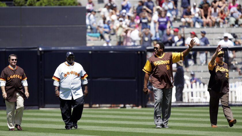 Former Padres Steve Garvey, Tony Gwynn, Dave Winfield, and Randy Jones walk into the Trevor Hoffman number retirement ceremony.