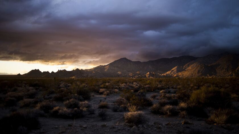 The sun sets on the Mojave National Preserve in Kelso, Calif., on Feb. 5. The public lands bill pass