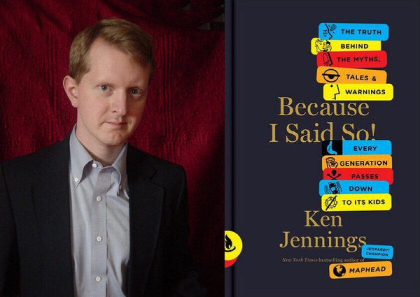 """Ken Jennings with his book """"Because I Said So."""""""