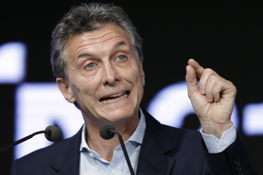 Argentine President Mauricio Macri speaks during a meeting with the Argentine Industrial Union in Buenos Aires on Dec. 14.