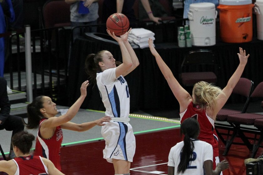 USD's Amy Kame pulls up for a jumper against Saint Mary's. The Toreros are one win from gaining a berth in the NCAA Tournament.