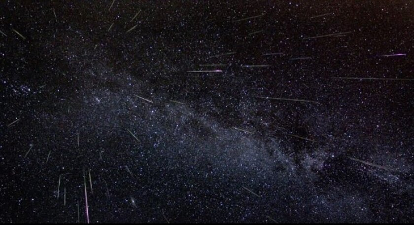 This shot from NASA shows the Perseid meteor shower from a previous year.