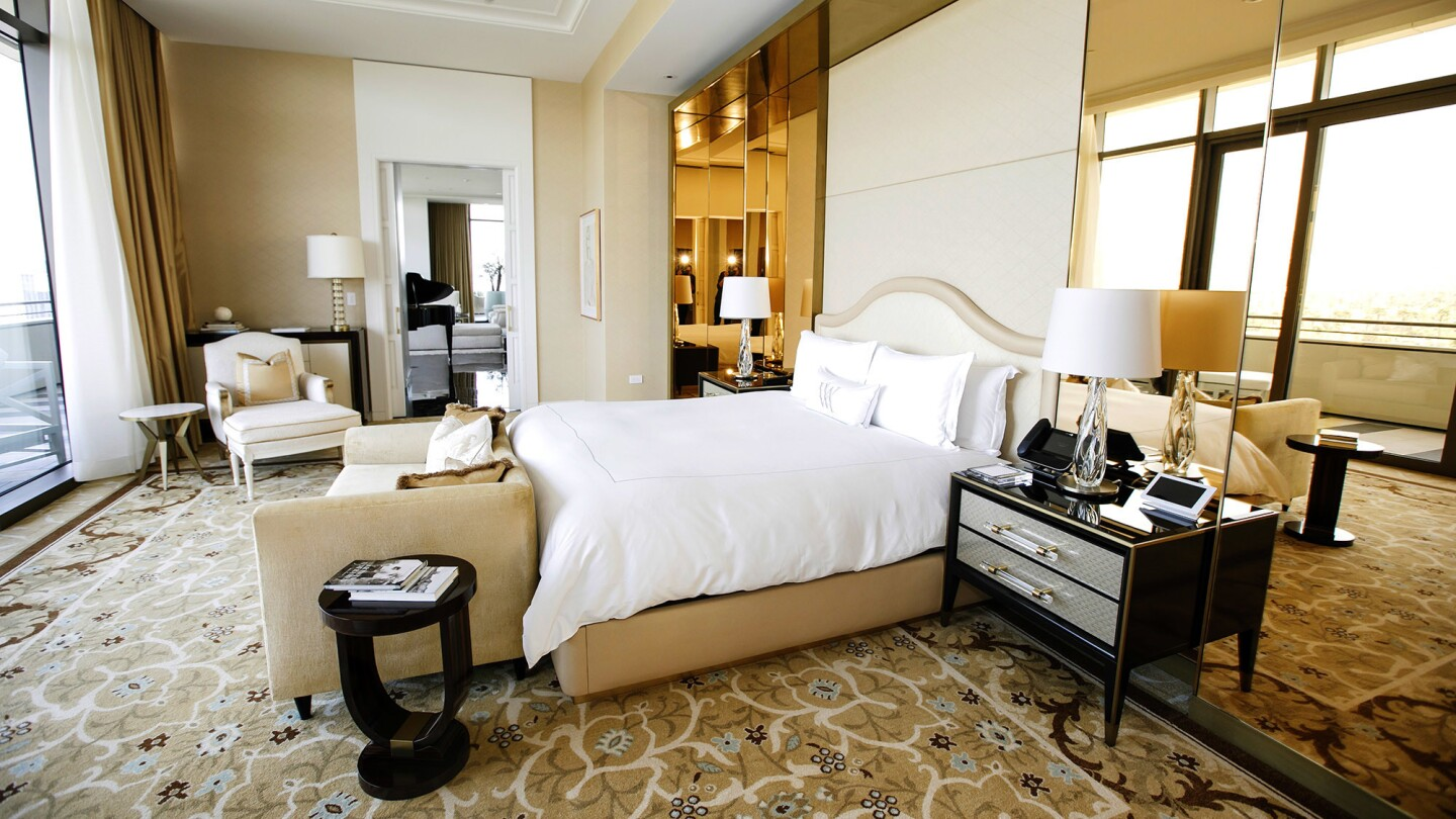 The Presidential Suite at the Waldorf Astoria Beverly Hills is 3,200 square feet with a 110-square foot terrace.