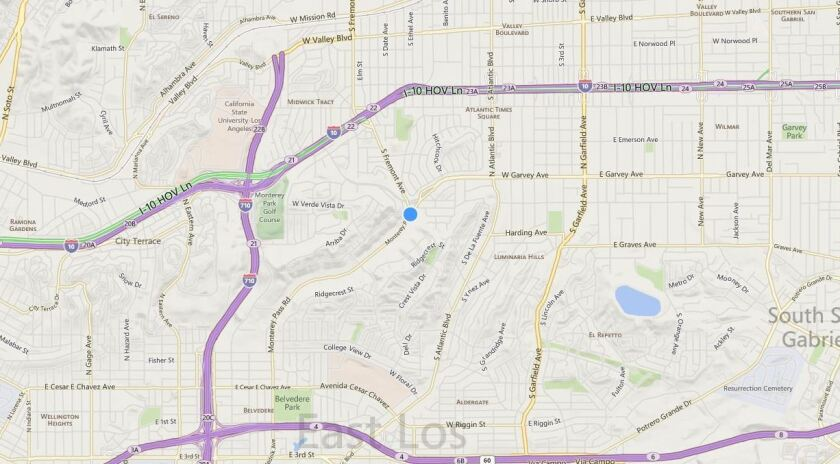 This map shows the location where one person was killed after a vehicle hit a parked car in Monterey Park.