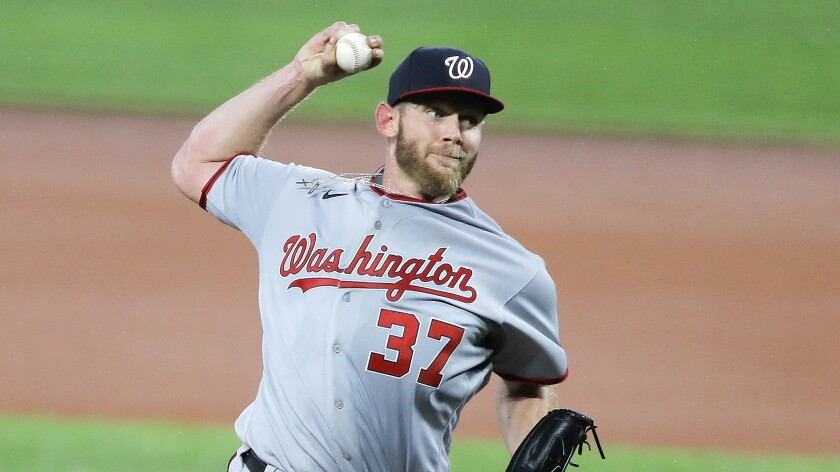 Nationals starter Stephen Strasburg delivers a pitch against the Orioles during a game Aug. 14, 2020, in Baltimore.