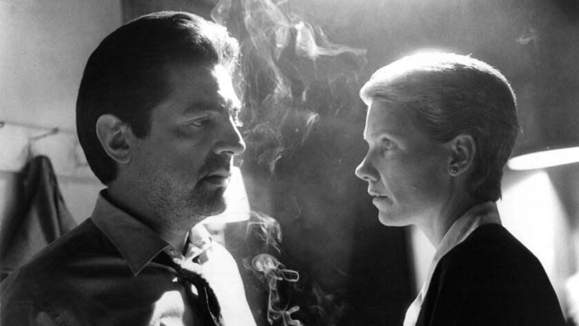 """Joe Mantegna and Lindsay Crouse in in the 1987 film """"House of Games."""""""
