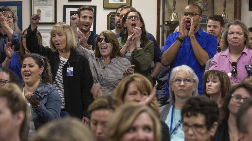 LANCASTER, CA-APRIL 18, 2019: A standing room only room crowd reacts during an Antelope Valley Union