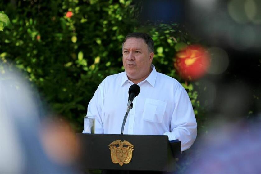 El secretario de Estado de Estados Unidos, Mike Pompeo, habla durante una visita a Cartagena (Colombia). EFE/Archivo