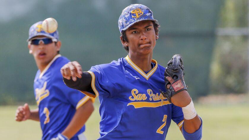 San Pasqual high school baseball player Elijah Jackson (2). -- Photo by Don Boomer