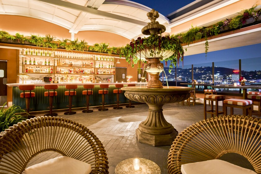 Thompson Hollywood hotel's new rooftop lounge features bites from chef Lincoln Carson, plus live entertainment.