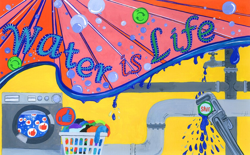 """Heidy Hur, a freshman at Crescenta Valley High School, is one of four area residents whose entry in the 2020 """"Water is Life"""" Student Art Calendar contest was selected to appear in the calendar."""