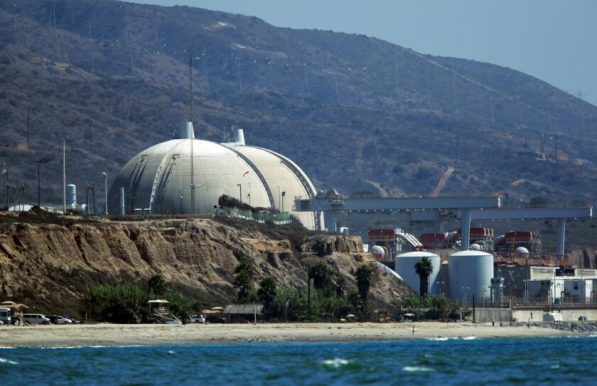 The San Onofre nuclear power plant , now idle, once produced 20 percent of San Diego's electricity,