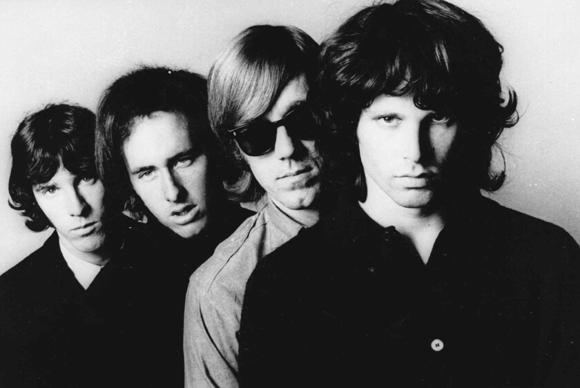 """In this undated publicity file photo, members of the Doors, from left, John Densmore, Robbie Krieger, Ray Manzarek and Jim Morrison, pose for a portrait. The group's 1967 debut album, """"The Doors,"""" is one of 25 sound recordings elected to the Library of Congress' National Recording Registry."""