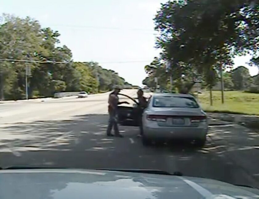 An image from the July 21, 2015, dash camera video of the traffic stop by Trooper Brian Encinia of Sandra Bland.