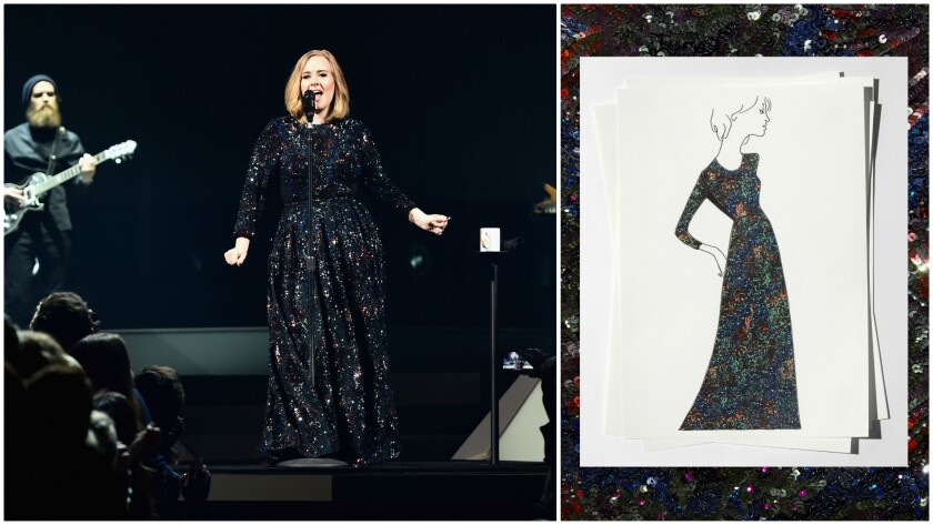 Adele performs in Burberry in Belfast, Northern Ireland, on Feb. 29, left, a a sketch of dress designed by Burberry's chief creative and chief executive officer, Christopher Bailey.