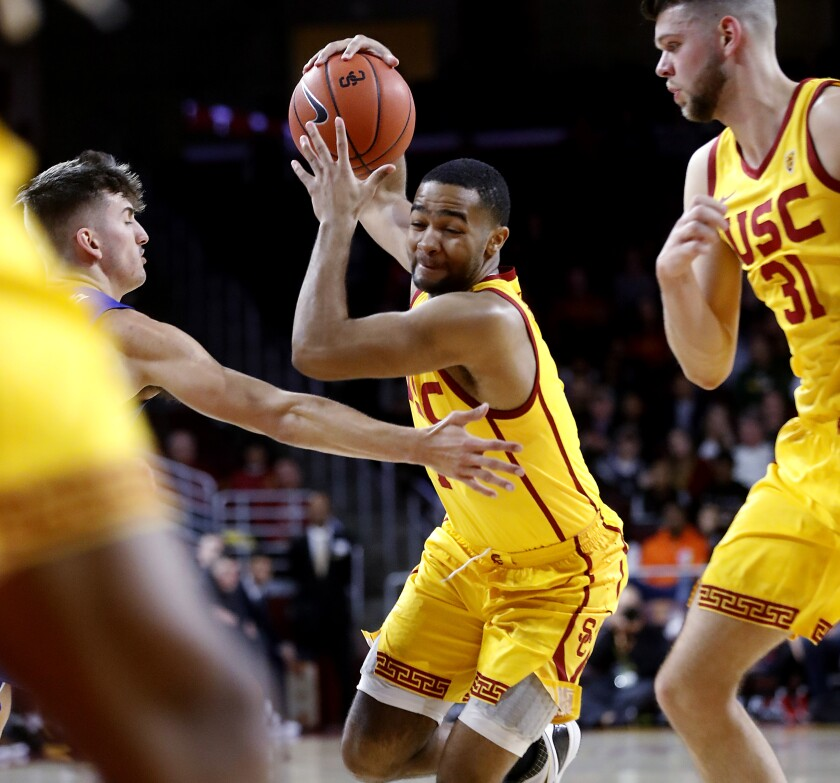 USC guard Kyle Sturdivant drives to the basket against Florida Gulf Coast during a nonconference game Dec. 29, 2019, at Galen Center.