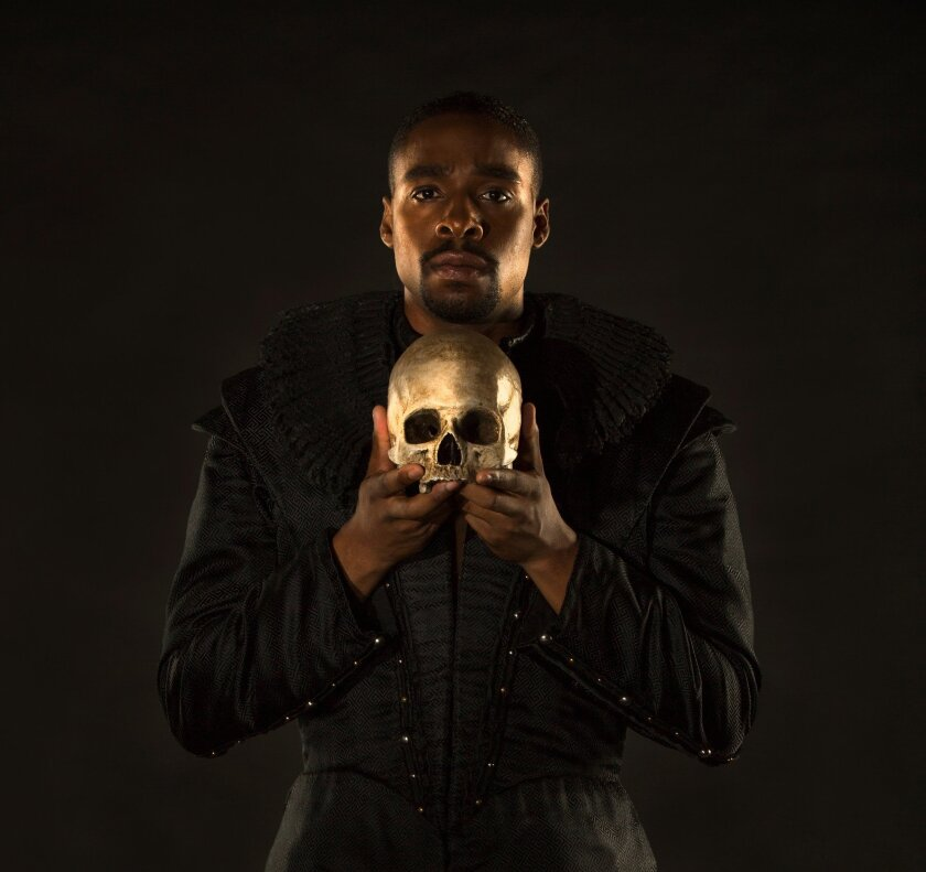 "Grantham Coleman appears in the title role of the Old Globe Theatre's ""Hamlet."" (Jim Cox)"