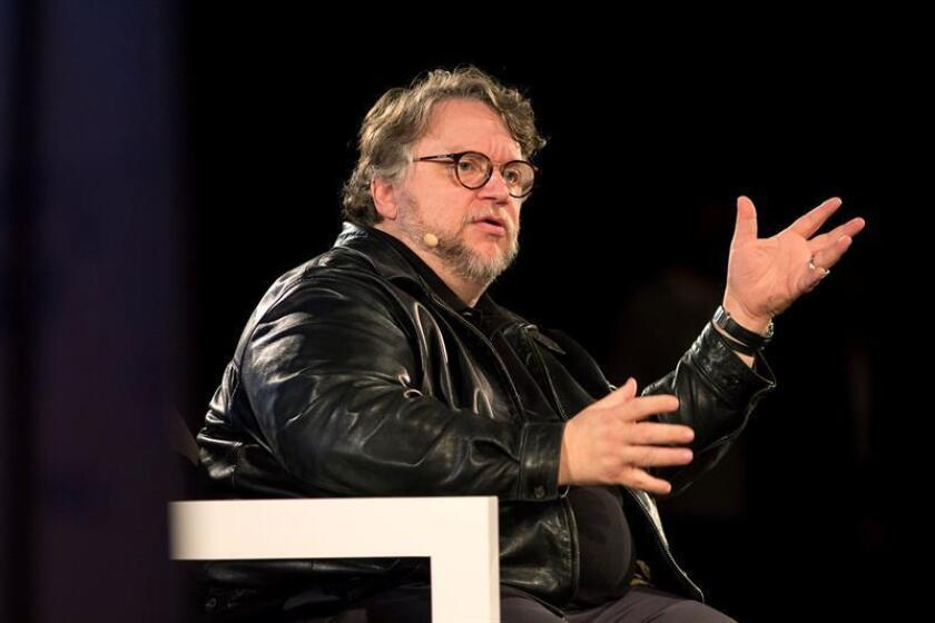 El director mexicano Guillermo del Toro, durante su intervención en la masterclass en el marco de la vigésima primera edición del Festival de Málaga de Cine en Español. EFE/Daniel Pérez