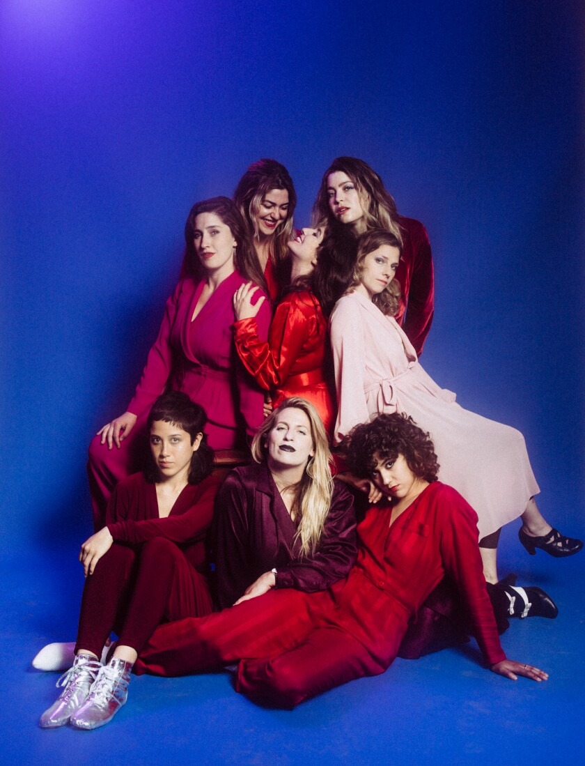 (Clockwise from left) Baby Bushka band members Nancy Ross; Shelbi Bennett; Natasha Kozaily; Leah Bowden; Batya MacAdam-Somer; Dani Bell; Nina Deering; and Lexi Pulido
