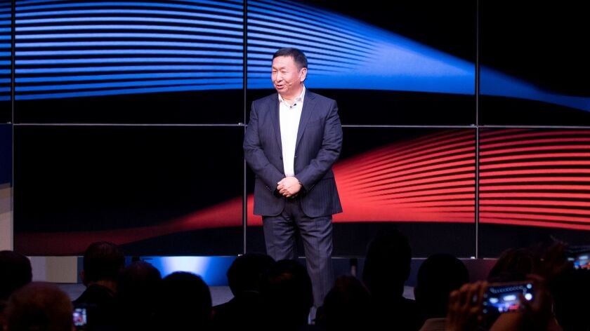 Vizio CEO William Wang at a news conference in Hollywood in 2016.