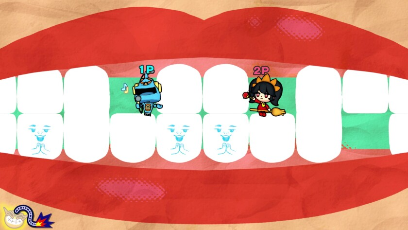 Cartoon figures brush away at a giant set of teeth.