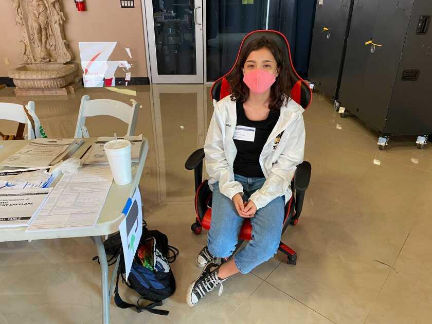 High school poll worker Sarah Jauregui, 16.