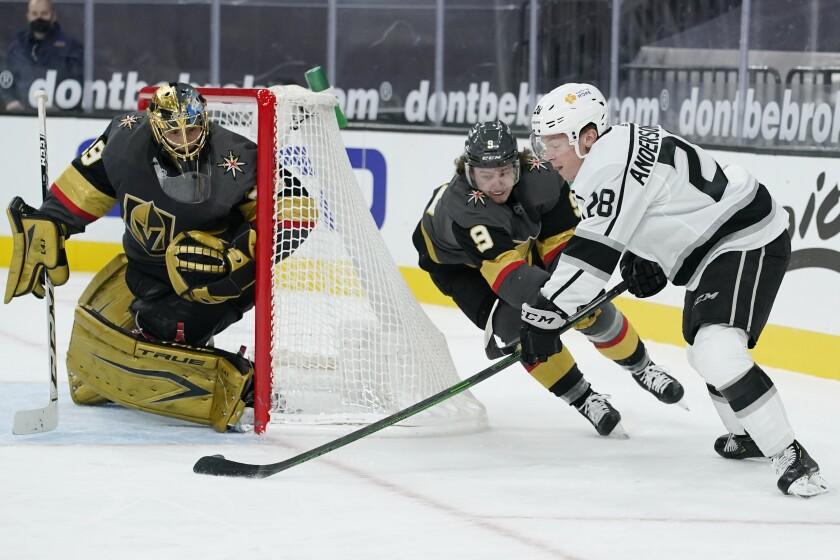 Kings center Jaret Anderson-Dolan attempts a shot against Vegas Golden Knights goaltender Marc-Andre Fleury.