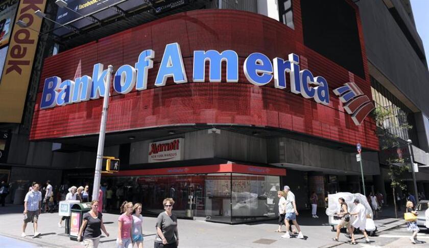Vista exterior de una sucursal del Bank of America en Times Square, Nueva York. EFE/Archivo