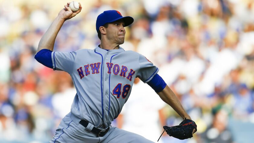 LOS ANGELES, CALIF. - SEPTEMBER 03: New York Mets starting pitcher Jacob deGrom (48) pitches against