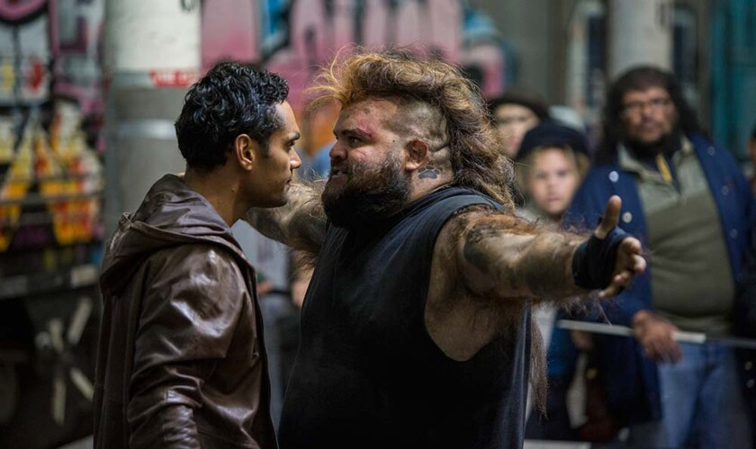"Waruu (Rob Collins), left, and Maliyan (Adam Briggs) in the first episode of the Sundance TV series ""Cleverman."""