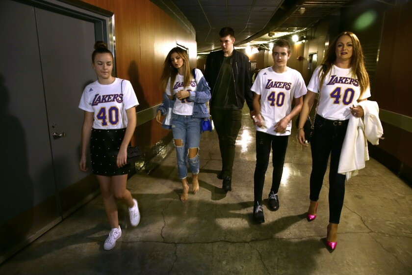 Ivica Zubac and his family after a game at Staples Center. From left to right are his sister, Marijaandjela Zubac, girlfriend Kristina Prisc, Ivica, brother Mario and mother Dijana.