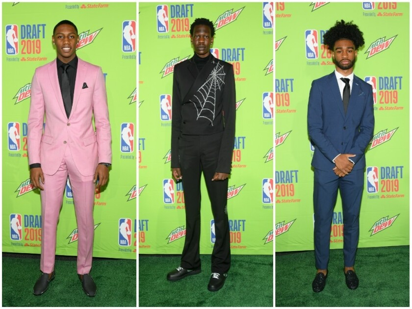 Freshly minted NBA players rocking memorable suits at the June 20, 2019, NBA Draft included, from left, RJ Barrett, Bol Bol and Coby White.