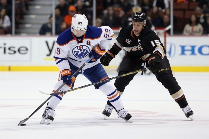 Sam Gagner, left, is pursued by Ryan Getzlaf of the Ducks in a Jan. 3 game.