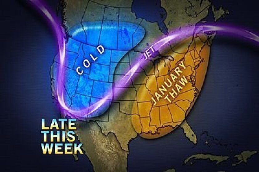 Projected weather pattern for Jan. 10-13, 2013
