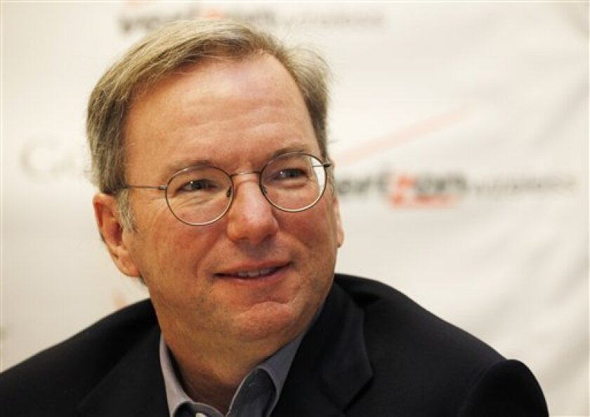 Eric Schmidt, chairman and CEO of Google, discusses the partnership with Verizon Wireless, Tuesday, Oct. 6, 2009 in New York. Google Inc. is seeing an economic recovery under way, not just in the U.S., but also in Europe, Schmidt said Wednesday.(AP Photo/Mark Lennihan)