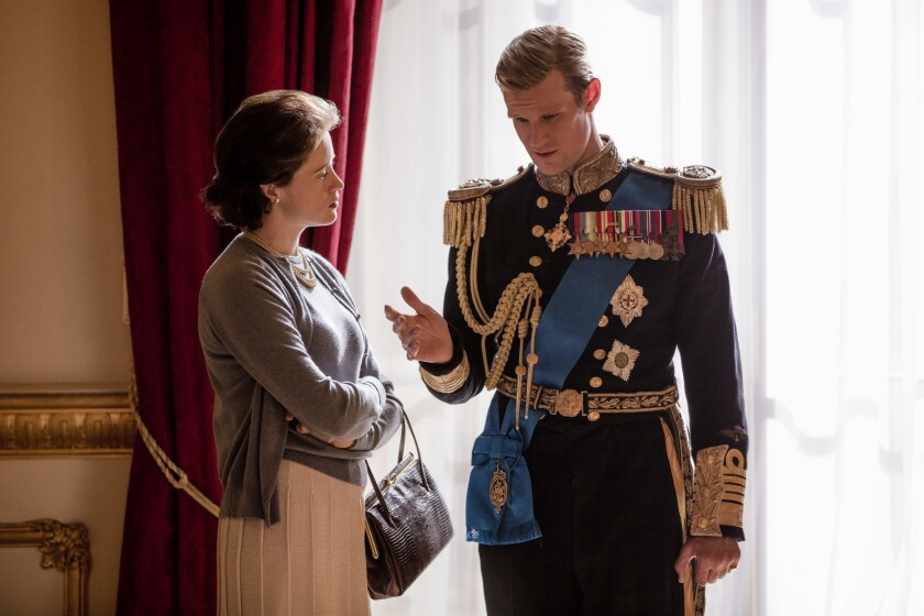 """Claire Foy and Matt Smith as the queen and Prince Philip in """"The Crown"""""""