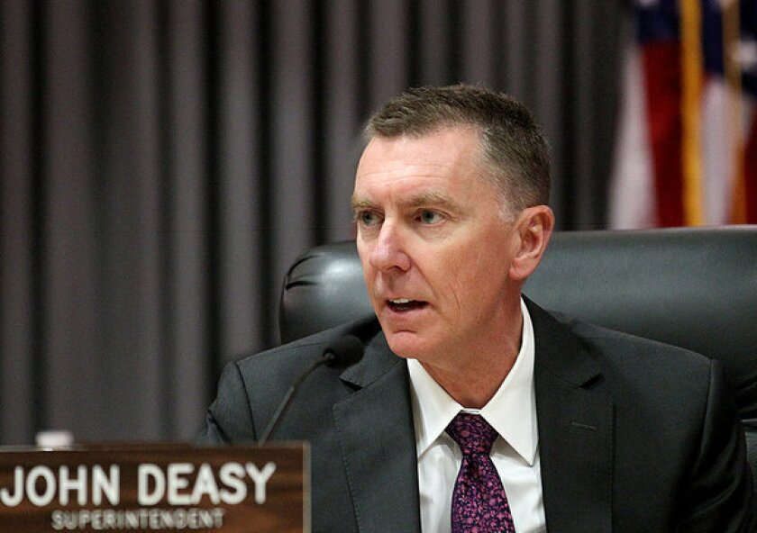 L.A. Unified Supt. John Deasy at a school board meeting.