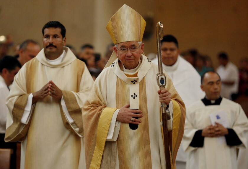 Archbishop Jose H. Gomez during Mass in recognition of immigrants at the Cathedral of Our Lady of Angels, in Los Angeles, earlier this year.