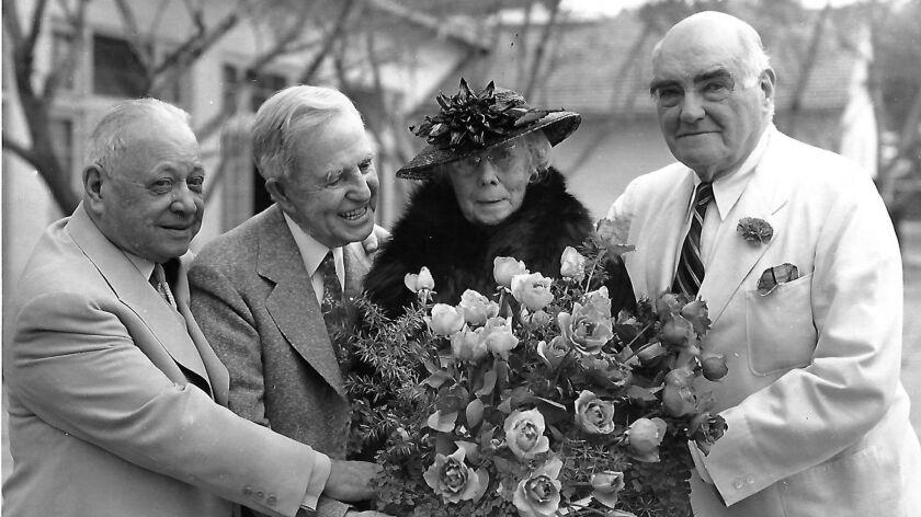 Left to right: L. E. Behymer, musical impresario of Los Angeles; John Steven McGroarty, poet laureat