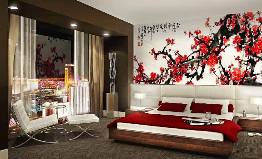 An artist's rendering of a standard guest room at the hotel-casino.