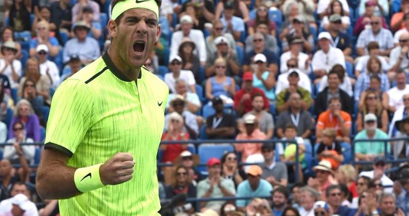 El argentino Juan Martín Del Potro celebra tras vencer al español David Ferrer y meterser a octavos de final del US Open.
