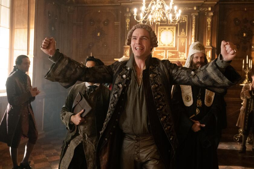 """It's good to be the king: Nicholas Hoult turns in a freewheeling and hairpin-turning performance as Peter III in Hulu's """"The Great."""""""
