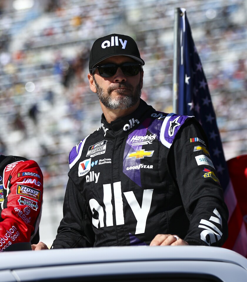 Jimmie Johnson at the Las Vegas Motor Speedway in February. (AP Photo/Chase Stevens)