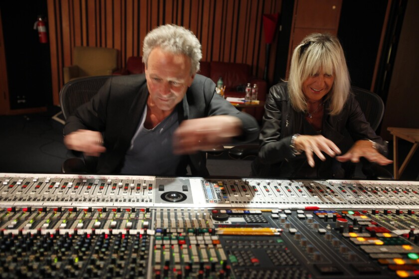 Lindsey Buckingham and Christine McVie in 2014 at West L.A.'s Village Studios.
