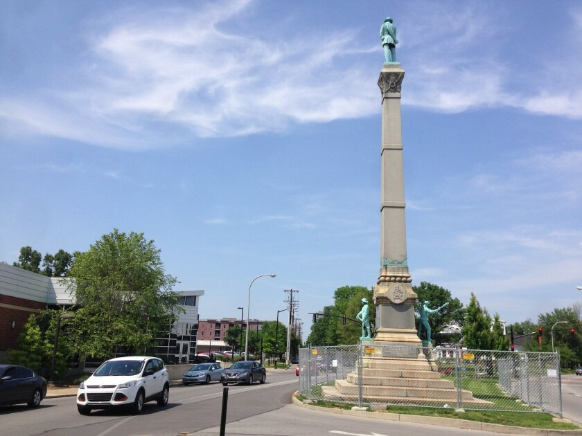 In this Tuesday, May 24, 2016 photo, a stone monument to Confederate soldiers killed in the Civil War sits near the University of Louisville in Louisville, Ky. A judge has ended a restraining order that barred the city of Louisville from removing the 120-year-old monument to Confederate soldiers. (